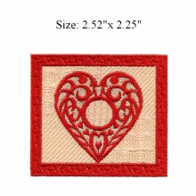 "Red flower heart 2.52""wide embroidery patch  for sons of anarchy patch/tennis accessories/bridal applique"
