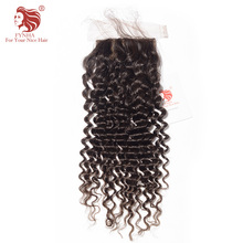 [FYNHA]Brazilian Kinky Curly Virgin Hair Silk Base Lace Closure Natural Color 100% Human Hair Free Shipping(China)