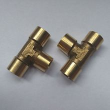 "Tee Type 3 Way Brass Pipe Fitting Connector 1/4"" to 1/4"" to 1/4"" BSP Female Thread for Water Fuel Gas Tube"