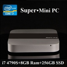 Mini HTPC 4K HD 1080P 8GB Ram 256GB SSD Mini PC i7 Haswell Intel Core i7 4790S 4 Core 8 Threads 4GHz HDMI+VGA Display 300M Wifi