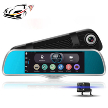 Android GPS Navigation 7 Inch Car DVR Dual Lens Rearview Mirror FM WIFI Navigator 16GB ROM/1GB RAMr Dual Lens Recording Dashcam(China)