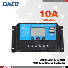 10A 12V/24V, New solar controller charge solar lithium GEL AGM battery , LCD display, dual USB output 5V.for solar energy system(China)