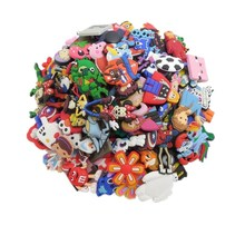 Promotion 50pcs/lot mixed styles random shoe shoe charms shoe decoration fit croc and wrisband for children gift Anime badge