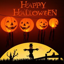 10 pcs Halloween Decoration LED Paper Pumpkin Light 6.5x6cm Hanging Lantern Lamp Halloween Props Outdoor Party Supplies