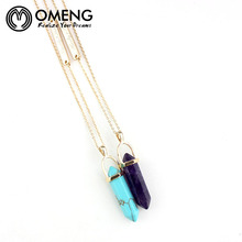 Omeng  Gold Plated Letter Chain Natural Amethyst Turquoise Pendant Long Necklace For Women Handmade Europe New Jewelry  OXL016