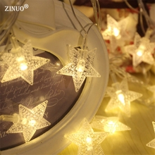 ZINUO 10M 100pcs Lucky Star Shaped LED Christmas String Light Garland Star For Holiday Party Wedding Garden Christmas Decoration(China)