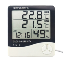 Weather Station HTC-2 Indoor Outdoor Thermometer Hygrometer Digital LCD C/F Temperature Humidity Meter Alarm Clock Wall Sensor(China)