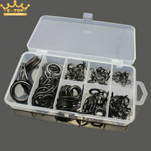 75pcs 1 Box 8 Sizes Fishing Rod Guides Kits Ceramics & Stainless Steel Circle Fishing Rod Accessories Repair Tool