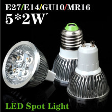 E27 E14 GU10 MR16 10W LED Spot Light LED Lamp White/Warm White 5x2W LED Spot Lighting Free Shipping(China)
