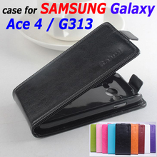 9 Colors High Quality Leather Case For SAMSUNG Galaxy Ace 4 / G313 Flip Cover Case housing For SAMSUNG Ace4 G 313 Phone Cases(China)