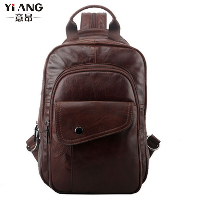 Men  Genuine Leather Cowhide Hand bag Chest sling bag Multipurpose Casual  Riding Travel Backpack <br>