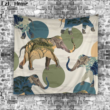 LzL Home 1 PS polyester cow monkey elephant tapestry Indian printed ready made wall hanging tapestry gobelin cloth beach towels(China)