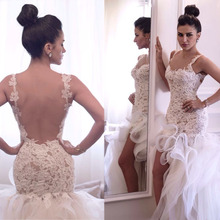 Attactive Lace Top Sheer Back Bridal Gowns Organza Sexy Short Front Long Back Wedding Dress Wedding Gowns Formal Gown