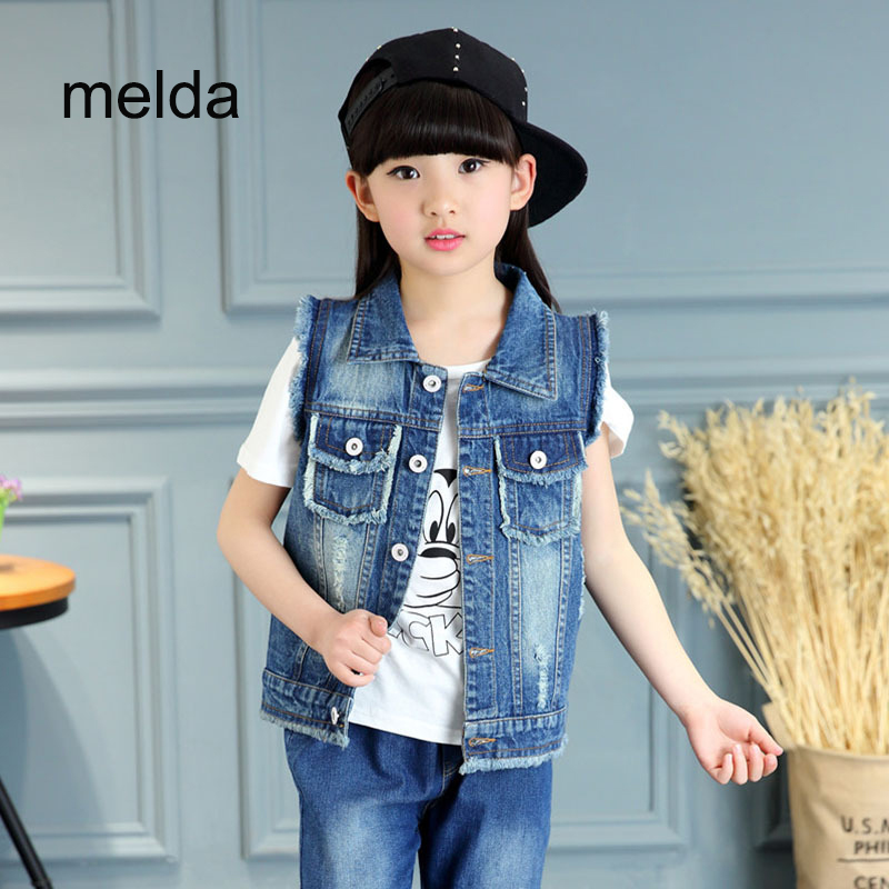 Sleeveless jean jackets for girls