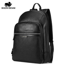 BISON DENIM High Quality Genuine Leather Large Backpacks Mens Laptop Bag Daypack black business Casual Backpack ipad bags 2337