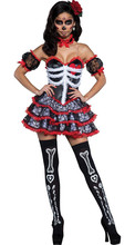 Sexy Mexican Day Of The Dead Fancy Dress Senorita Bone-ita Skeleton Horror Phantom Helloween Bride Vampire Skull Costume