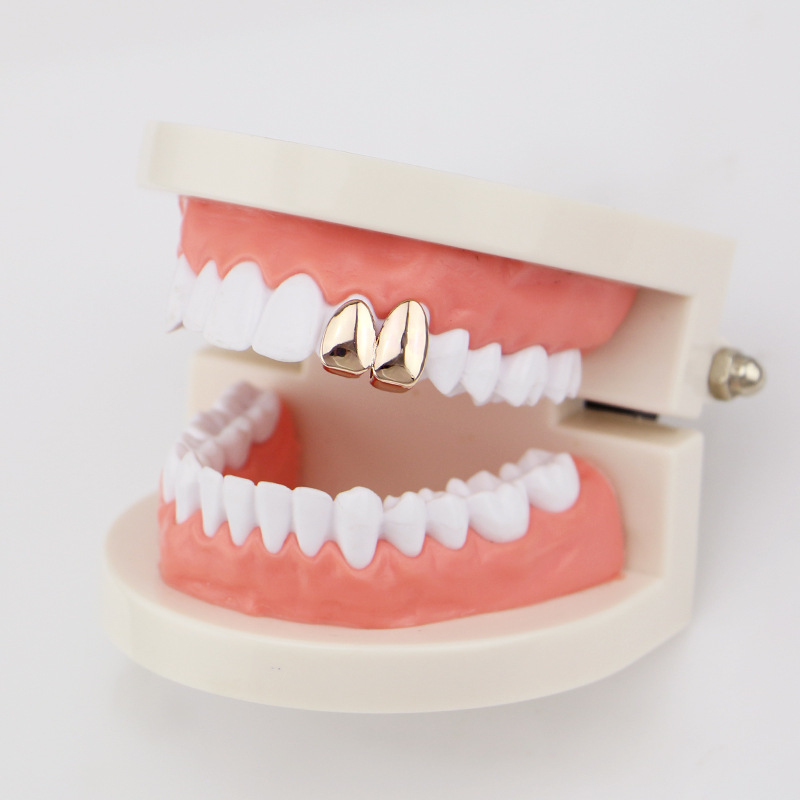 Factory Bottom Price 2 pcs Teeth Jewelry Real Gold Plated Teeth Grillz Hip-hop Cool Men Fake Tooth Grillz USA Hot Sale Halloween Gift (7)