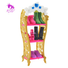 Rosana Kids Playhouse Shoes Rack For Barbie Doll Storage Racks For Monster High Dolls Furniture For Barbie Doll Best Gift