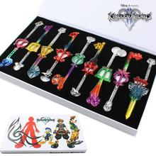 9pcs/set Kingdom Hearts Colorful 5-6cm Metal Keychain Necklace #1569 Action Figure Brinquedo Toy Kids Christmas Gift