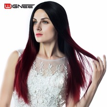 Wignee None Lace Long Straight Women Wigs Ombre Color 1B 99J Red Fake Wig High Temperature Heat Resistant Synthetic Cosplay Hair(China)