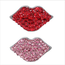 Hot Selling Mix Red And Pink Rhinestone Lip Snap Button Charm Fit DIY 18mm Snap Button Jewelry 20pcs/lot(China)