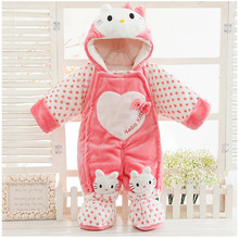 Siyubebe Winter Baby Clothes Newborn Baby Girl Thicken Hooded Long Sleeve Warm Rompers Cute Kitty Cat Infant Jumpsuit Clothing