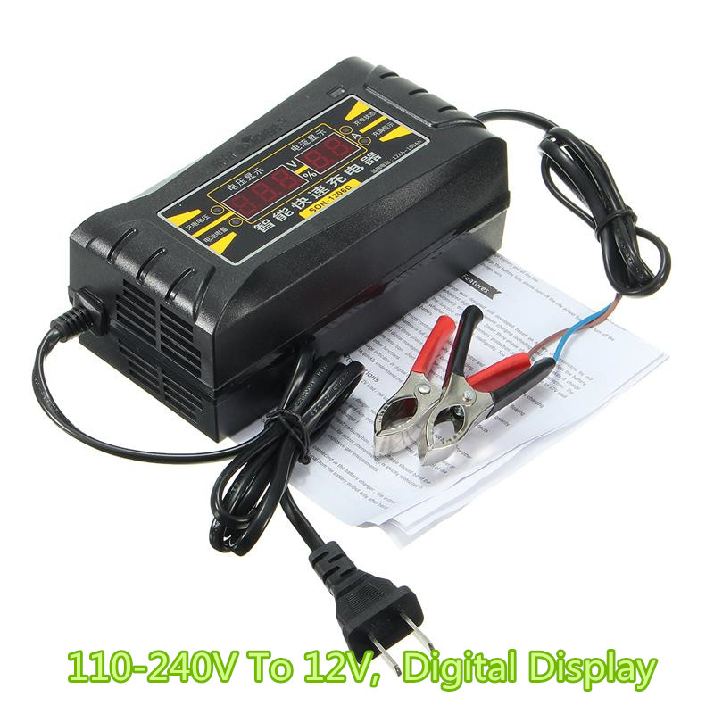 Full Automatic Car Battery Charger 110V to 220V To 12V 6A Intelligent Fast Power Charging Wet Dry Lead Acid Digital LCD Display<br><br>Aliexpress