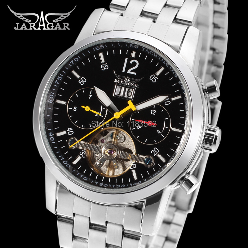 Jargar new Automatic men  fashion tourbillon silver watch with stainless steel band shipping  free JAG154M4S1<br>