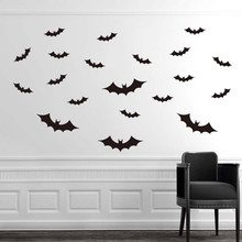Newest Wall Sticker DIY PVC Bat  Furniture  Window Sticker Decal Home Halloween Decoration C7724