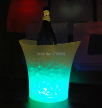 4Pcs/Lot 5Litre waterproof plastic LED Ice Bucket color changing,5L bars nightclubs LED light up Champagne beer ice pail bucket(China)