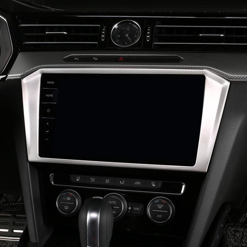 1PCS Black titanium Air Condition CD Panel Cover Trim For VW Passat B8 2017-2018