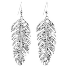 Women's Retro Boho Alloy Rhinestone Feather Earrings Silver(China)