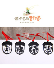 4 pcs/pack bookmark cartoon fairy tale characters of black paint paint creative hollow metal bookmarks Lanyard 4.5*3cm
