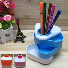 Plastic Triangle Pen Holder Multilevel Desk Stationery Tidy Three colors option Color box packing for Office Accessories Pen Box(China)