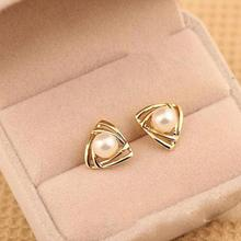 2017 New Hot Selling Elegant Charming Tone Triangle White Pearl Ear Stud Earrings Gift Well, Party Girl Lady Women(China)