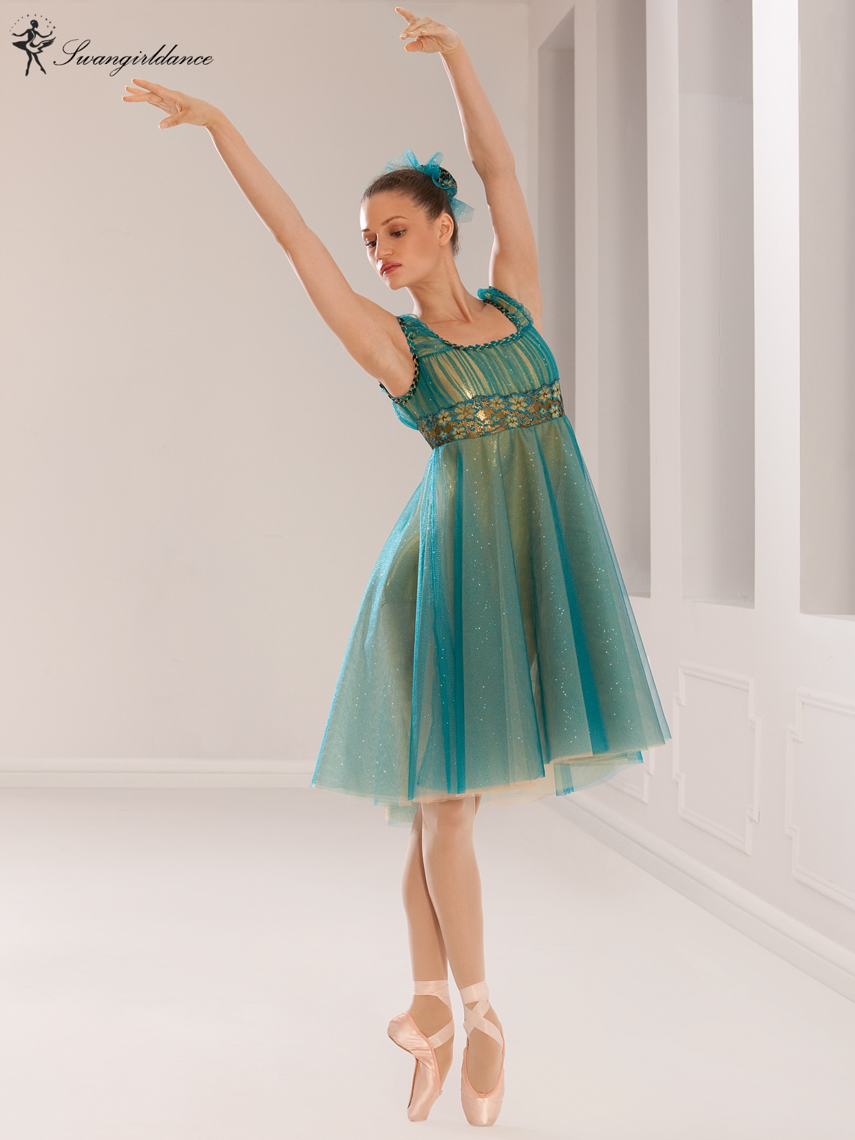 Colorful Adult Green Performance Dance Ballet Lyrical Dress Children Dance Costume Stage Ballet Dress BL0123