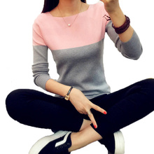 2017 christmas Knitted Sweater Women Autumn Winter Split Women Sweaters And Pullovers Female Pink Tricot Jumper Pull Femme B02(China)