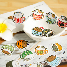 DIY Cute Kawaii Cartoon Cat Crafts Scrapbooking Stickers Plant Scrapbook Sticky Paper for Home Decoration Diary Free shipping