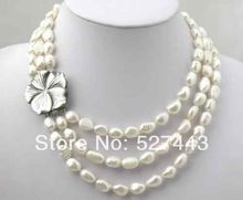 FREE SHIPPING>>@> Wholesale 3 Rows Real Natural Pearl shell flower clasp Necklace NEW(China)