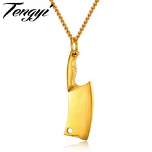 TENGYI Kitchen Knife Design Pendant Necklaces For Man Trendy 316L Stainless Steel 4 Color Jewelry Slice Men Necklace Gift TY1157