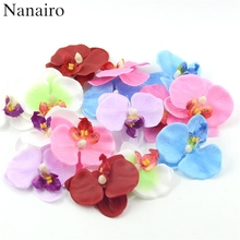 100pcs/lot Cheap 7CM Spring Silk Butterfly Orchid Artificial Flower heads Gladiolus Cymbidium Flowers for Wedding Decoration