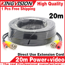 8.28biggest Sale! 20m Video+Power Cables Security Camera Wires for CCTV DVR Surveillance System with BNC DC Connectors Extension(China)
