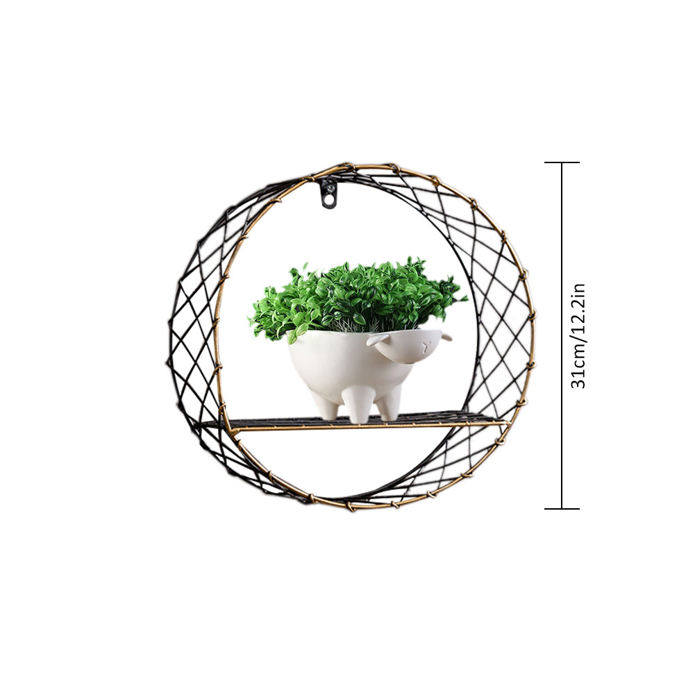 3 Sizes Retro Wall-Mounted Metal Rack Circular Mesh Iron Shelf Industrial Style Round Shelf Office Sundries Organizer Home Decor 11