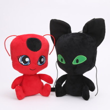 1pc New Miraculous Ladybug cat Noir plush toys Carton Anime Red black cat Adrien Marinette stuffed dolls(Red 24cm, Black 30cm)(China)