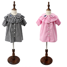 Brand design baby girls irregular plaid dress baby berry plum wink dress flared  smock dress kids trendy outfits for summer
