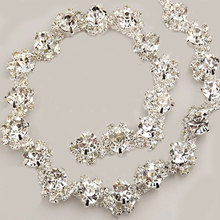 11mm Width Silver Sewing Crystal Rhinestone Trim Chain For Wedding Dress Decoration 80CM Length 5-084