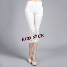 Women Leggings 3/4 Lace Floral Crochet Elastic Waist Slim Rhinestone Stretch Cropped Leggings 046