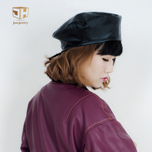 Joejerry Vintage PU Leather Black Red Beret For Women Korean Ladies Berets Hat Flat Cap For Spring Summer Autumn Winter