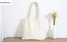 BEARBERRY 2017 new casual shoulder bags large size weave strap handbags women shopping bags white women tote drop shipping MN425