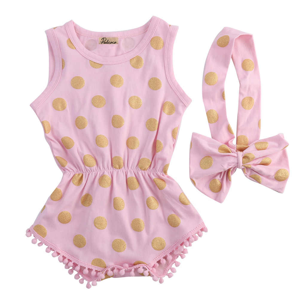 d9f39f1ff8b Toddler Infant Newborn Baby Girl Gold Dots Romper Jumpsuit Bow Head Band  2PCS Outfits Set Sunsuit